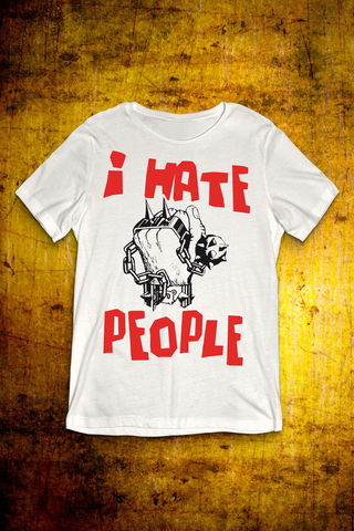 I,Hate,People,-,White,T,Shirt,Mens,T Shirt, Punk, Anti Nowhere League, Rock, Metal