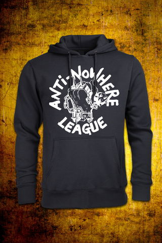 Classic,Logo,-,White,on,Black,Non,Zip,Hoodie, Punk, Anti Nowhere League, Rock, Metal