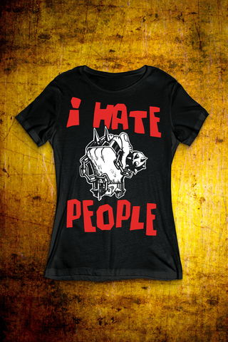 I,Hate,People,-,Black,T,Shirt,-Ladies,T Shirt, Punk, Anti Nowhere League, Rock, Metal