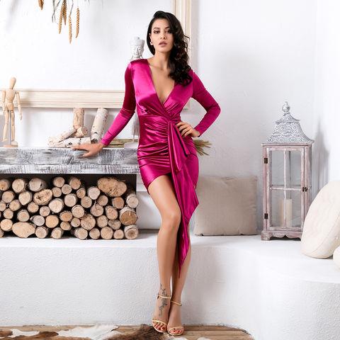 47160ae5cfc5 Yvonne,Hot,Pink,Drape,Mini,Dress,alvona dress, house