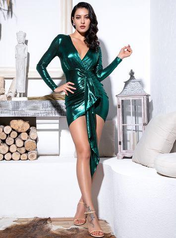 50ad56cda736 Yvonne,Metallic,Green,Drape,Mini,Dress,alvona dress, house