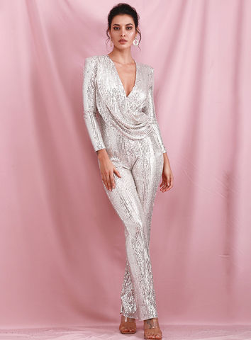 Cyris,Silver,Sequin,Jumpsuit,Sequin jumpsuit, holiday jumpsuits, silver jumpsuit long sleeve