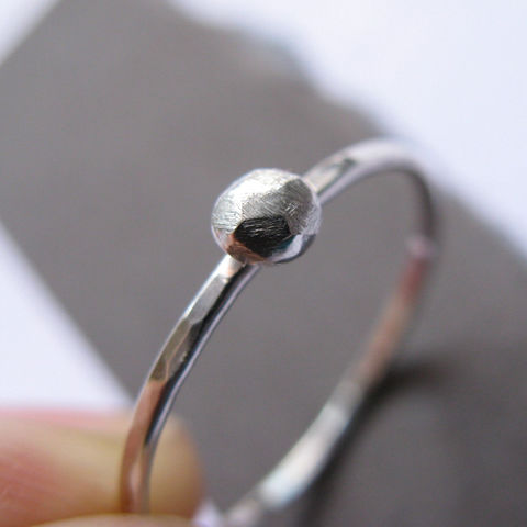 Tiny,Rock,Ring,minimalist wedding ring, faceted rock ring, simple silver ring, silver stacking ring, pebble ring, modern silver ring, unusual jewellery UK