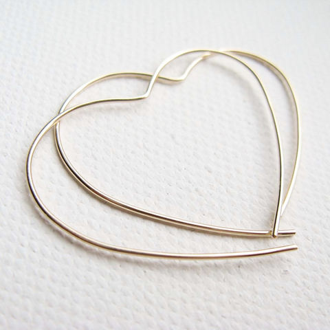 Gold,Open,Heart,Hoop,handmade gold jewellery, gold heart earrings, minimalist earrings UK, simple open heart, simple gold hoop, hoop earrings