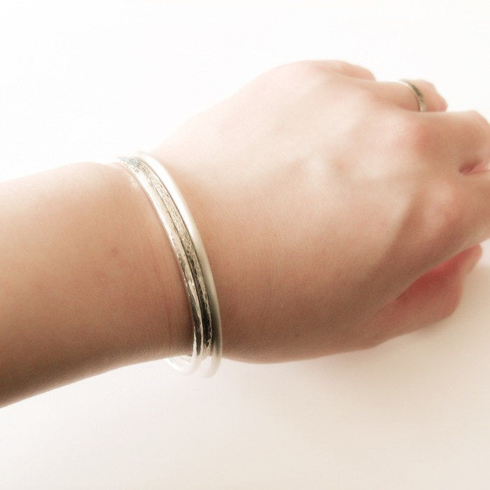 Three Minimalist Silver Cuff Bracelet - product images  of