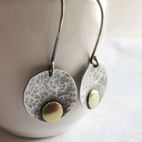 Hammered,disc,earrings,Jewelry,Earrings,misluo, simple dangler earrings,silver disc earrings,modern silver dangle,simple earrings,hammered disc,hammered earrings,brass and silver,golden dot,circle earrings