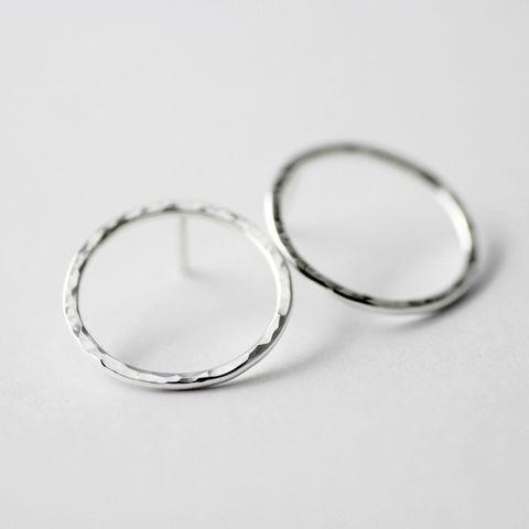 Hammered Circle Sterling Stud Earrings Studs Misluo Jewellery