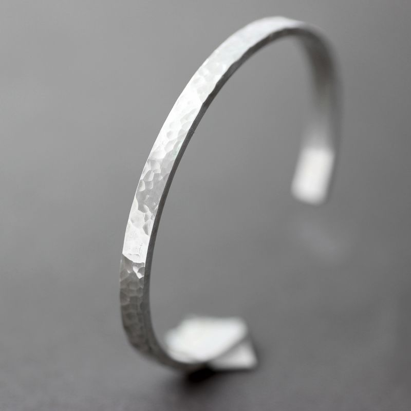 Classic Hammered Sterling Silver Cuff Bracelet - product images  of