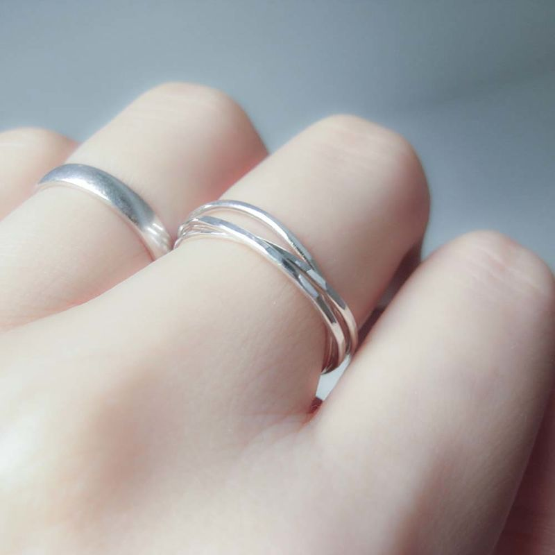 Slim Interlocking Silver Ring - product images  of