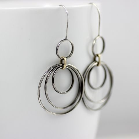 Multi,ring,hoop,earrings,multi ring hoop earrings, sterling silver hoop dangles, sterling silver earrings, 9ct gold earrings, oxidized silver hoops, multiple circle earrings, long swing earrings, handmade UK, misluo jewellery