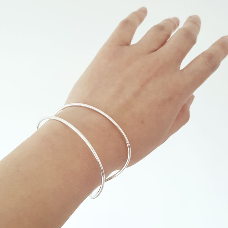 Double Line Sterling Silver Cuff Bracelet - product images  of