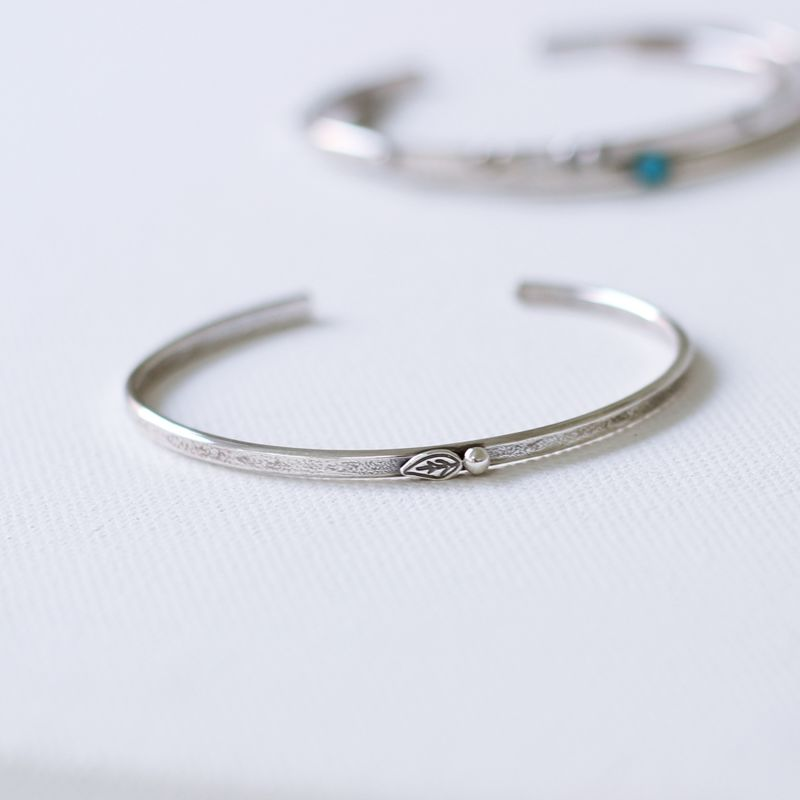 Leaf and Bud Silver Cuff - product images  of