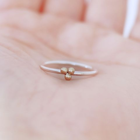 9ct,gold,and,silver,trio,balls,ring,gold ball ring,minimalist silver ring, sterling silver ring, stacking rings,unusual silver ring, handmade silver ring, gift for women, handmade jewellery UK