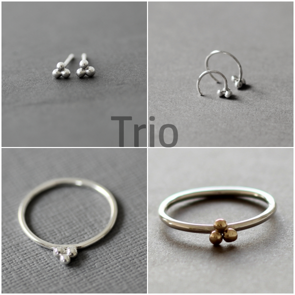 9ct gold and silver trio balls ring - product images  of