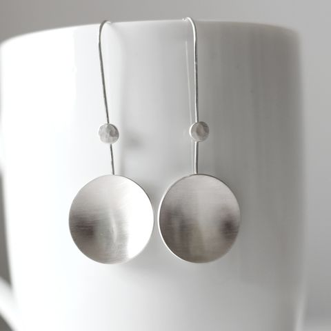 Long,Moon,Dangle,Earrings,moon silver earrings, long moon earrings, dome silver dangle, minimalist silver earrings, organic silver earrings, handmade in UK, sterling silver earrings