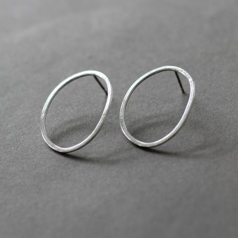 Large,Oval,Sterling,Silver,Post,Earrings,large oval earrings, open oval post earrings, geometric studs, silver oval stud, texture hoops, edgy silver earrings, handmade in UK, gift for her