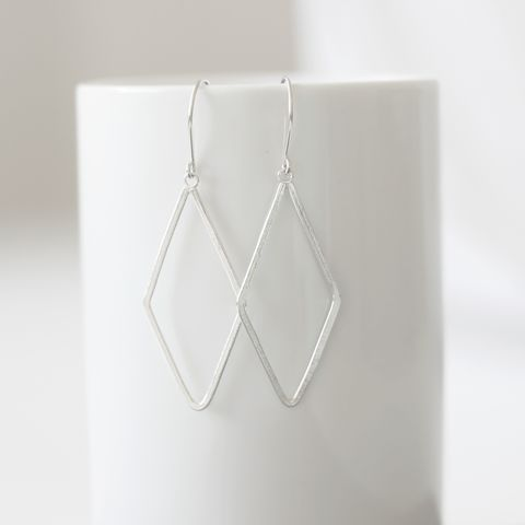 Large,Diamond,Shape,Sterling,Silver,Earrings,sterling silver geometric earrings, diamond shape dangle earrings, large shape earrings, minimalist earrings, everyday earrings, lightweight earrings, misluo, handmade in UK, gift for her
