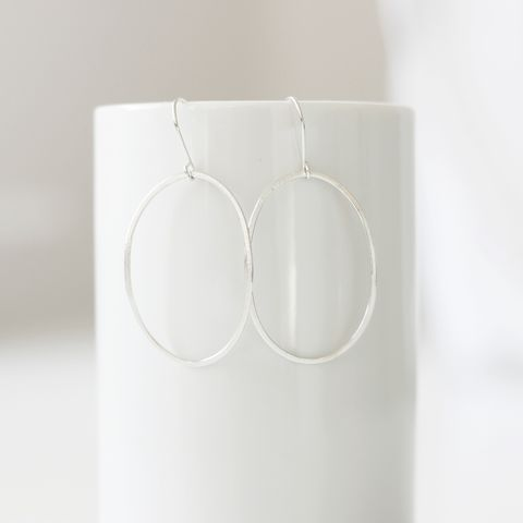 Large,Oval,Sterling,Silver,Earrings,sterling silver hoops, large hoop earrings, large oval hoops, lightweight, organic shape, geometric jewelry, handmade in UK, gift for her