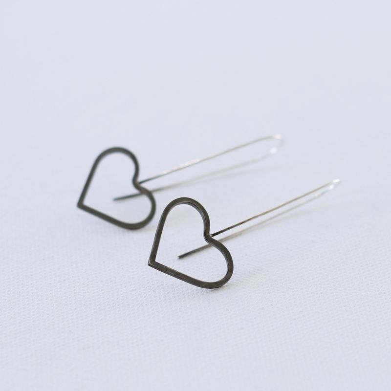 Two tone sterling silver heart dangle earrings  - product images  of