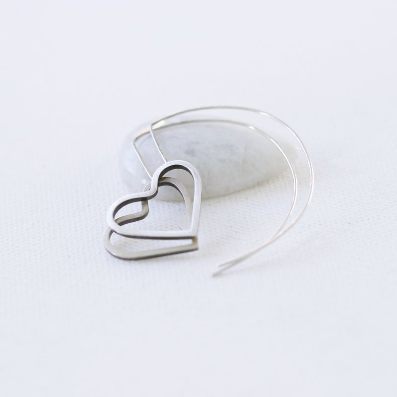 Edgy heart sterling silver hoop earrings  - product images  of