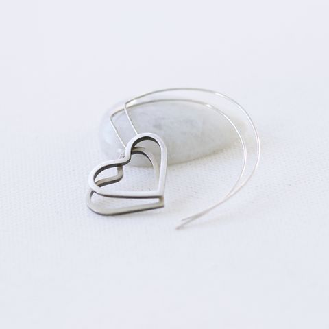 Edgy,heart,sterling,silver,hoop,earrings,large heart hoop earrings, sterling silver heart earrings, handmade UK, gift for her, unusual jewellery, statement earrings, earrings for love, open heart, Valentine's day gift