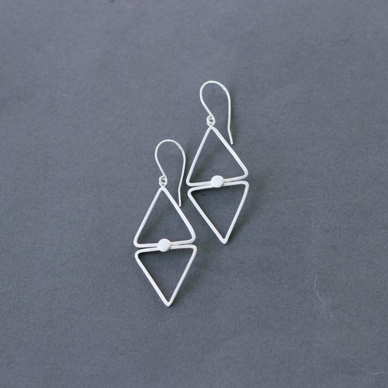 Diamond shape silver dangle earrings - product images  of