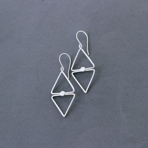 Diamond,shape,silver,dangle,earrings,sterling silver geometric earrings, diamond shape earrings, modern silver earrings, everyday silver earrings, gift for her, handmade UK