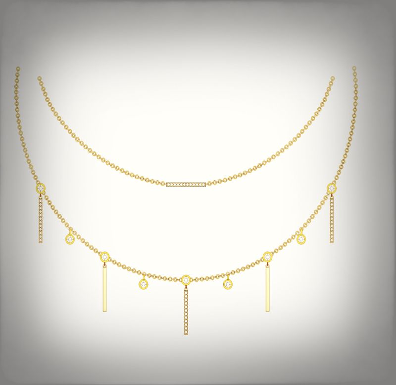 Double drop bar necklace  - product image