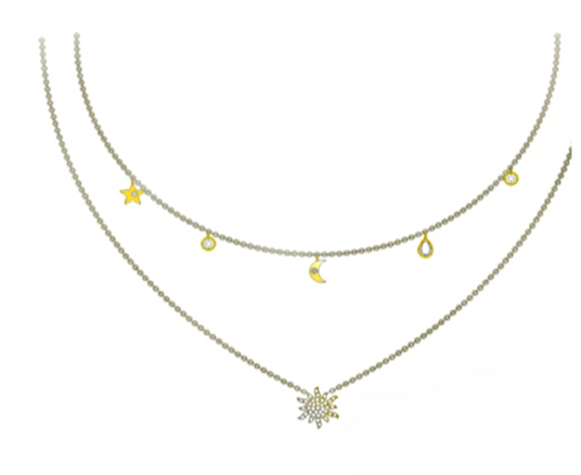 Star and moon charm necklace - product image