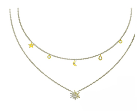 Star,and,moon,charm,necklace