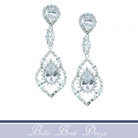 Hannah,Bridal,Earrings,Weddings,Jewelry,cz_earrings,bridal_earrings,wedding_earrings,cubic_zirconia,bridal_jewelry,wedding_jewelry,crystal_earrings,dangle_earrings,teardrop_earring,rhinestone_earrings,cz_jewelry,drop_earrings,chandelier_earrings,Cubic Zirconia,White Gold