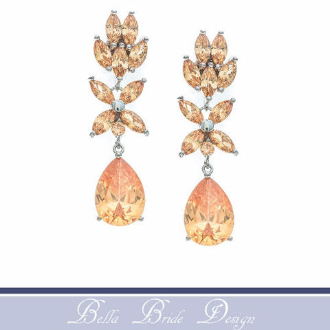 Haley,Bridal,Earrings,Weddings,Jewelry,bridal_earrings,bridal_jewelry,wedding_jewelry,crystal_earrings,cz_earrings,bridesmaids_jewelry,bridesmaids_earrings,peach_bridal_earring,statement_earring,chandelier_earrings,teardrop_earring,prom_earrings,prom_jewelry