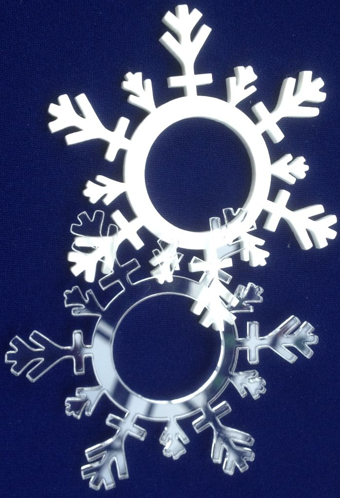 White Acrylic snowflake coaster/napkin ring,  Secret Santa gift, winter party, Christmas party - product images  of