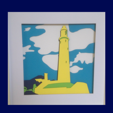 Bright,layered,papercut:,St,Mary's,Lighthouse,,Northumberland,Bright Layered Papercut, lighthouse papercut, Bright Lighthouse, Yellow Lighthouse,Whitley Bay art