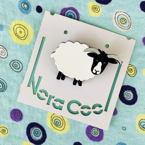 Layered,sheep,brooch,FREEPOST,UK,acrylic sheep brooch, luxe layered sheep brooch, horned ewe brooch, blackfaced sheep, northumberland gift,