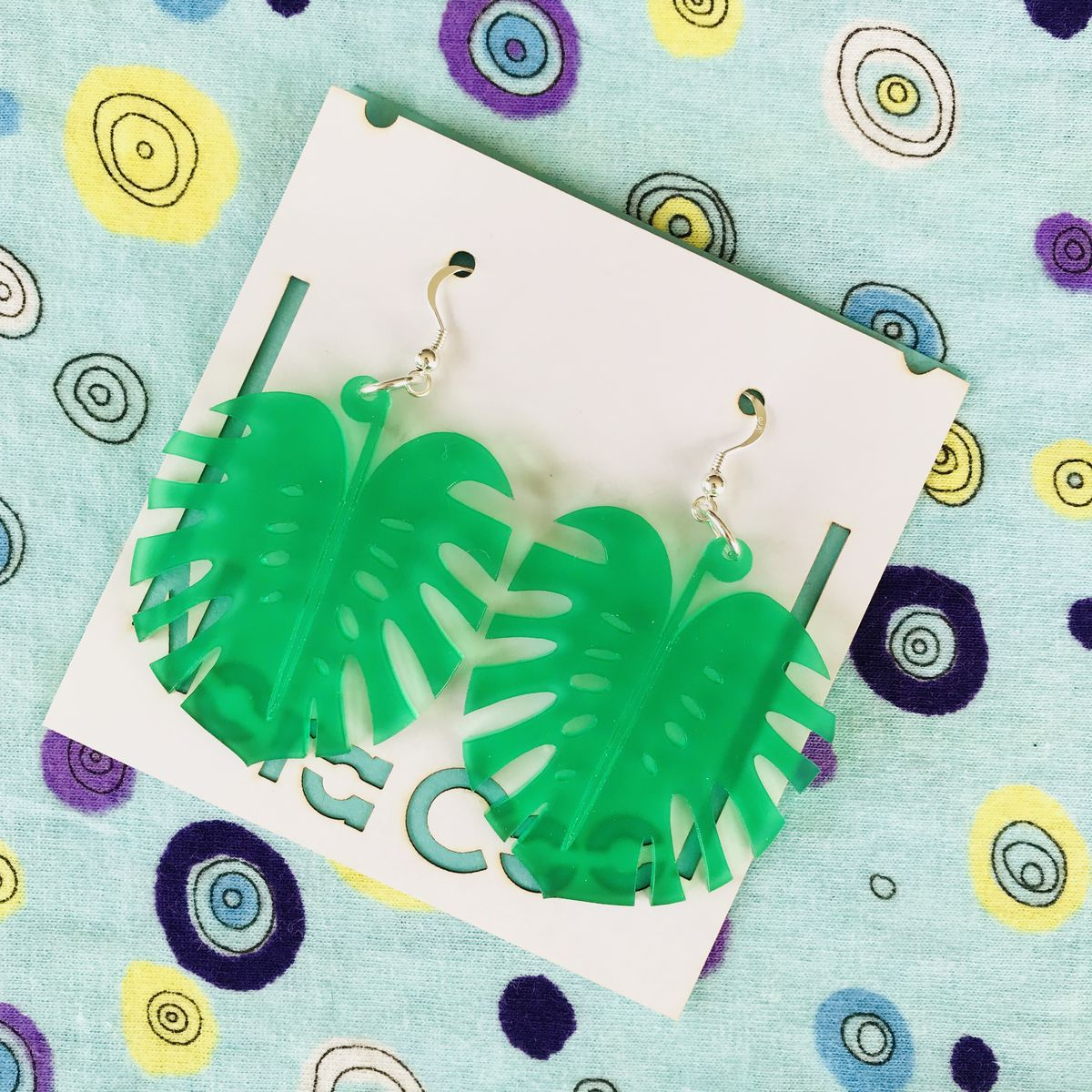 Statement Monstera stud/hook earrings  FREEPOST UK - product images  of