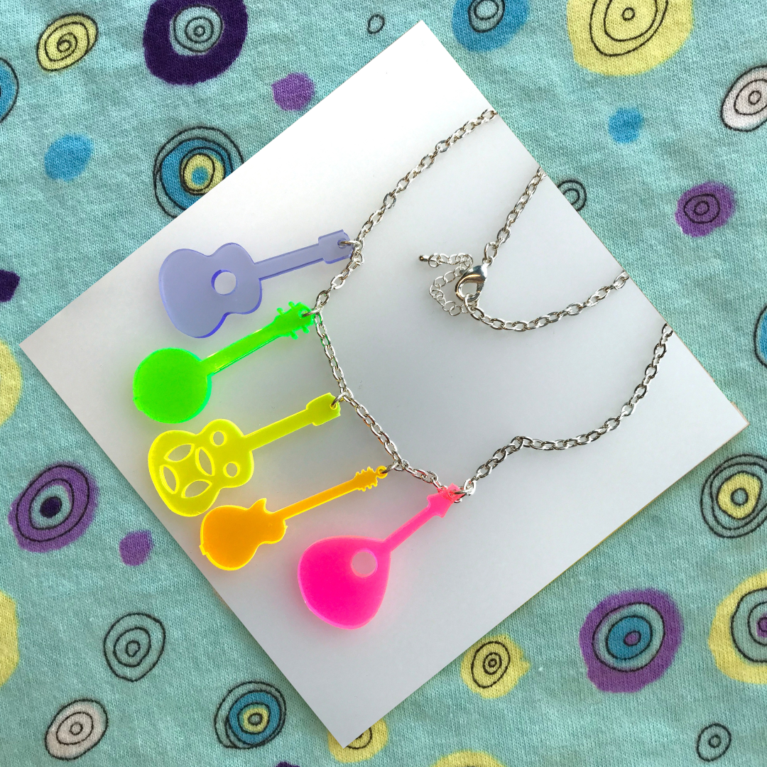 Country Music Neon Acrylic Statement Necklace (5 instruments) FREEPOST UK - product images  of