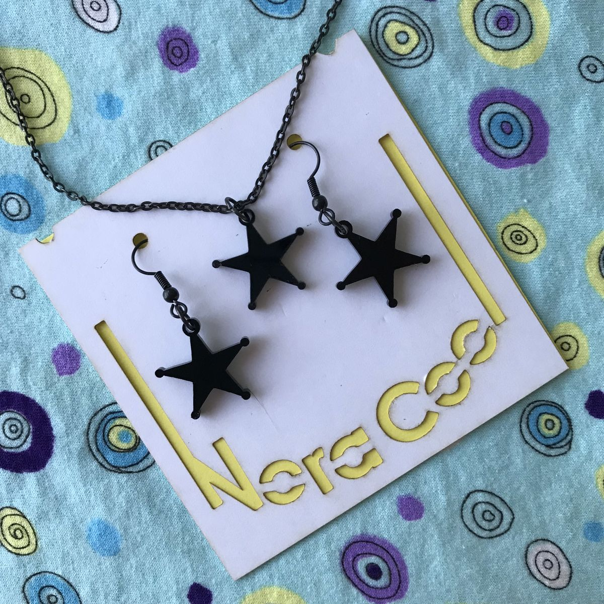 Black Star Acrylic earring and necklace set FREEPOST UK - product images  of