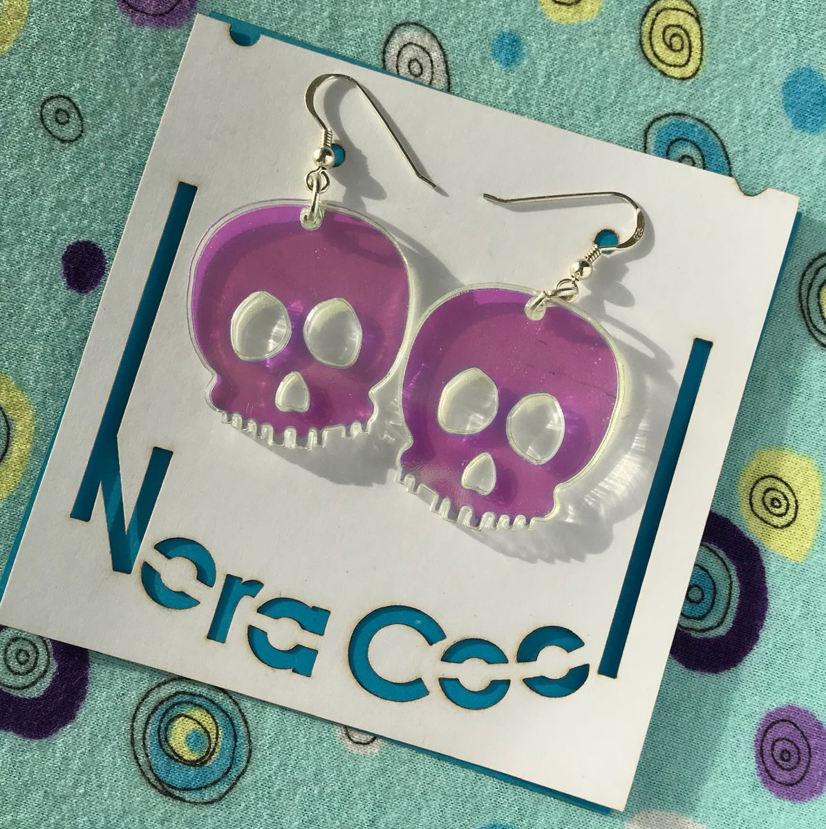 Iridescent skull earrings FREEPOST UK - product images  of