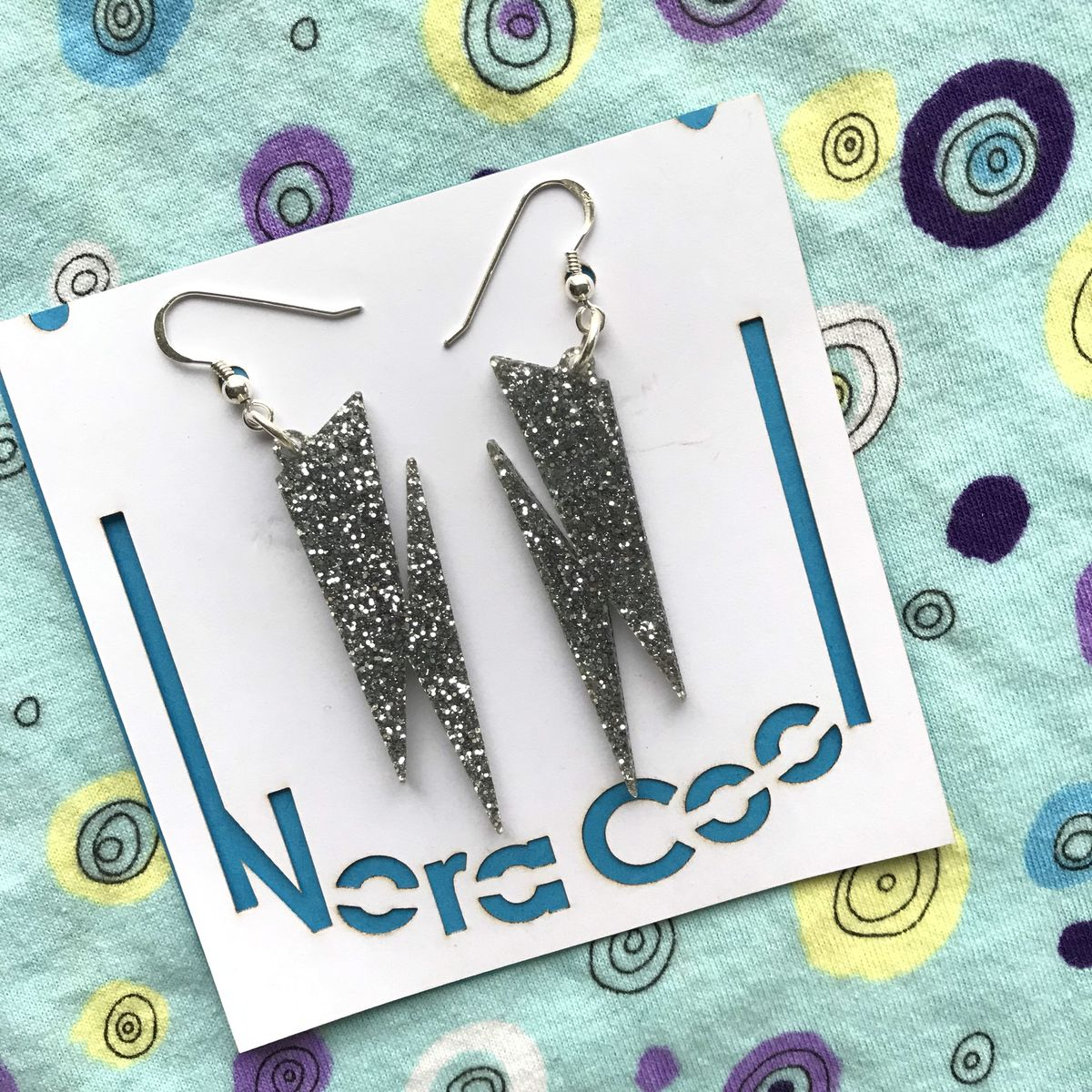 Silver glitter Lightning Bolt earrings FREEPOST UK - product images  of