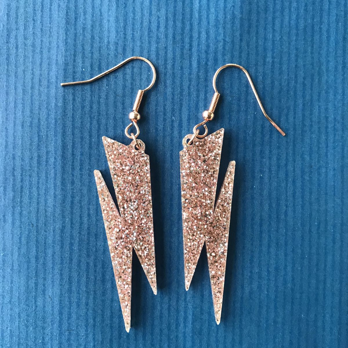 Rose Gold glitter Lightning Bolt earrings FREEPOST UK - product images  of