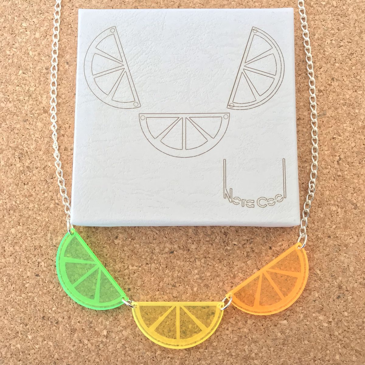 Citrus Necklace Fluorescent Acrylic FREEPOST UK - product images  of
