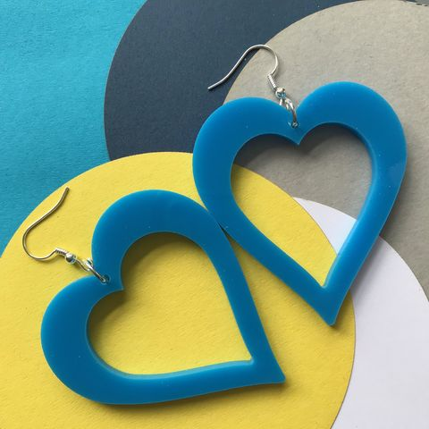 Alabama,Style,Statement,Blue,Heart,Earrings,FREEPOST,UK,Statement blue heart earrings, acrylic earrings, blue earrings, blue hearts, True Romance, Alabama earrings