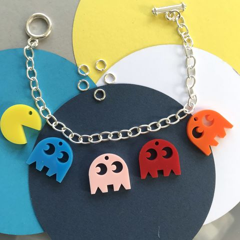 PAC-MAN,Statement,Charm,Bracelet,multicoloured,FREEPOST,UK,Retro Game bracelet, PAC-MAN bracelet, multicolour bracelet, laser cut jewellery