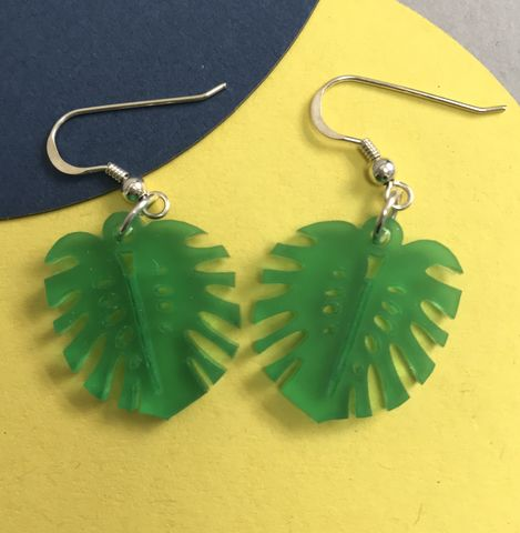 Small,Monstera,earrings,FREEPOST,UK,frosted_green_earrings, cheeseplant_earrings, monstera_earrings, Tropical_earrings