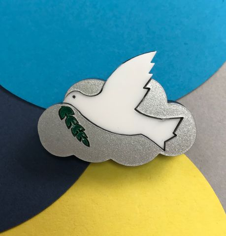 Peace,Dove,and,Cloud,Brooch,FREEPOST,UK,Peace dove layered acrylic brooch, hand made peace dove brooch, peace dove
