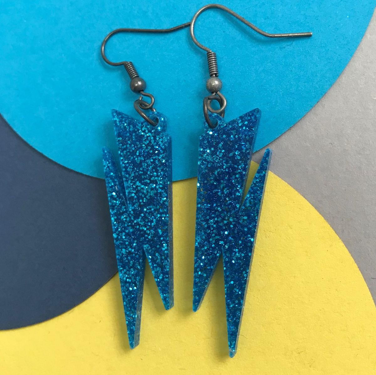 Sapphire Blue Glitter Lightning Earrings FREEPOST UK - product images  of