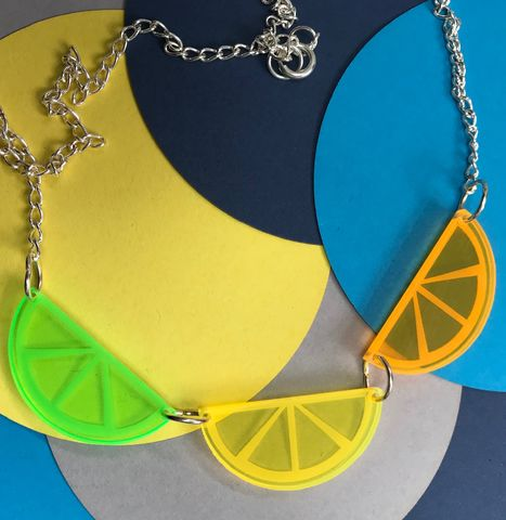 Citrus,Necklace,Fluorescent,Acrylic,FREEPOST,UK,citrus_slices, Lemon, lime, orange,dayglo,live_edge_acrylic,fluorescent_acrylic,statement_necklace