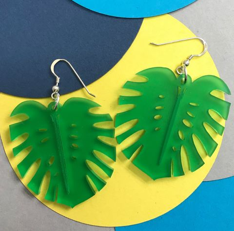 Statement,Monstera,stud/hook,earrings,FREEPOST,UK,frosted_green_earrings, cheeseplant_earrings, monstera_earrings, Tropical_earrings