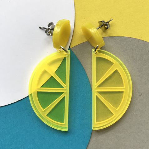 Lemon,Drop,Stud,Acrylic,Earrings,FREEPOST,UK,lemon_drop_studs, yellow_earrings, citrus_earrings, lemon_slice_earrings